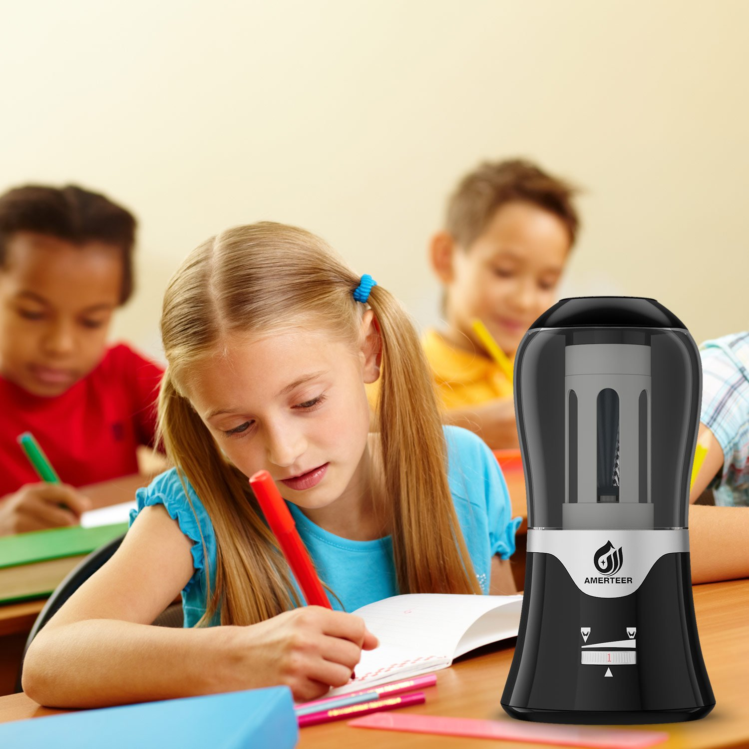 AMERTEER Electric Pencil Sharpener - AC Powered with Auto-Stop Feature,Durable and Portable for Classroom & Office,Safe for Students and Kids by AMERTEER (Image #7)