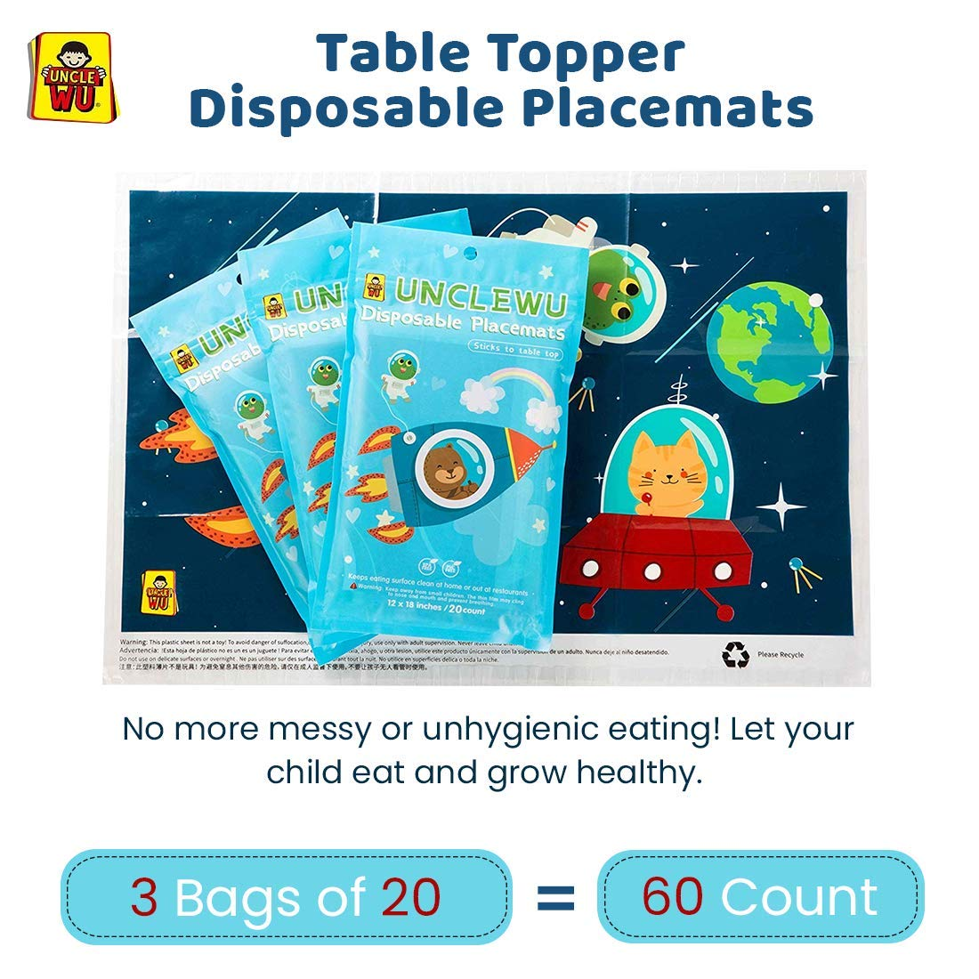 Table Topper Disposable Placemats UNCLE WU Baby Toddler Kids Super Sticky Disaposable Placemats12''x18'' 60 Count (3 Bags of 20) BPA Free -ECO Friendly,NEET &Safe Restaurants,No Cleaning by UNCLE WU