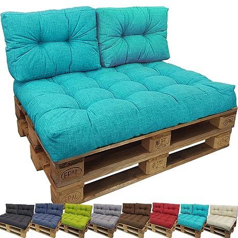 PROHEIM Cojin Palés Tino Lounge - Cojin De Asiento O Respaldo para Sofás Palets - Repelentes A Las Manchas (No Es Un Set), Color:Turquesa, Variante:1 ...