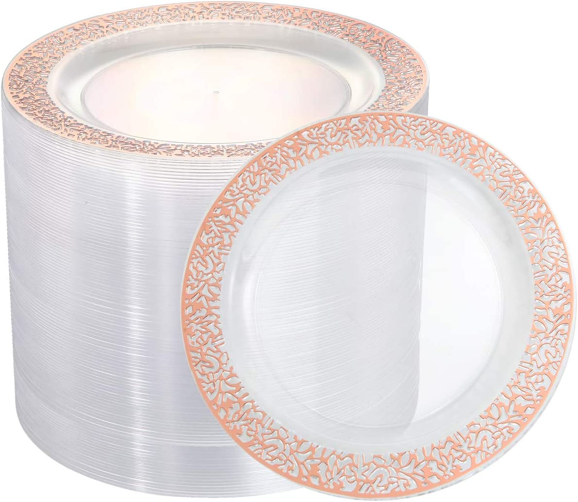 """102 Pieces Rose Gold Plastic Lunch Plates, 9"""" Clear Disposable Dinner Plates with Rose Gold Lace Rim, Ideal for Big Parties or Wedding"""