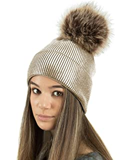 d2820b99838 TOSKATOK Ladies Womens Fine Knit Metallic Glittler Sparkle Winter Beanie  Bobble Hat with Large Faux Fur