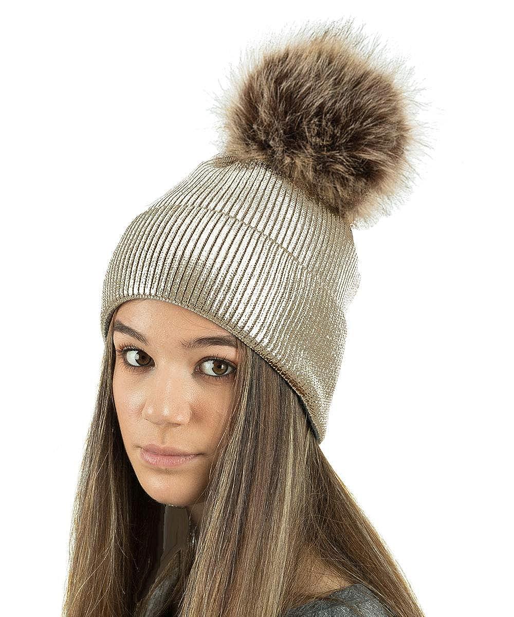 TOSKATOK Ladies Womens Fine Knit Metallic Glittler Sparkle Winter Beanie Bobble Hat with Large Faux Fur Pom Pom