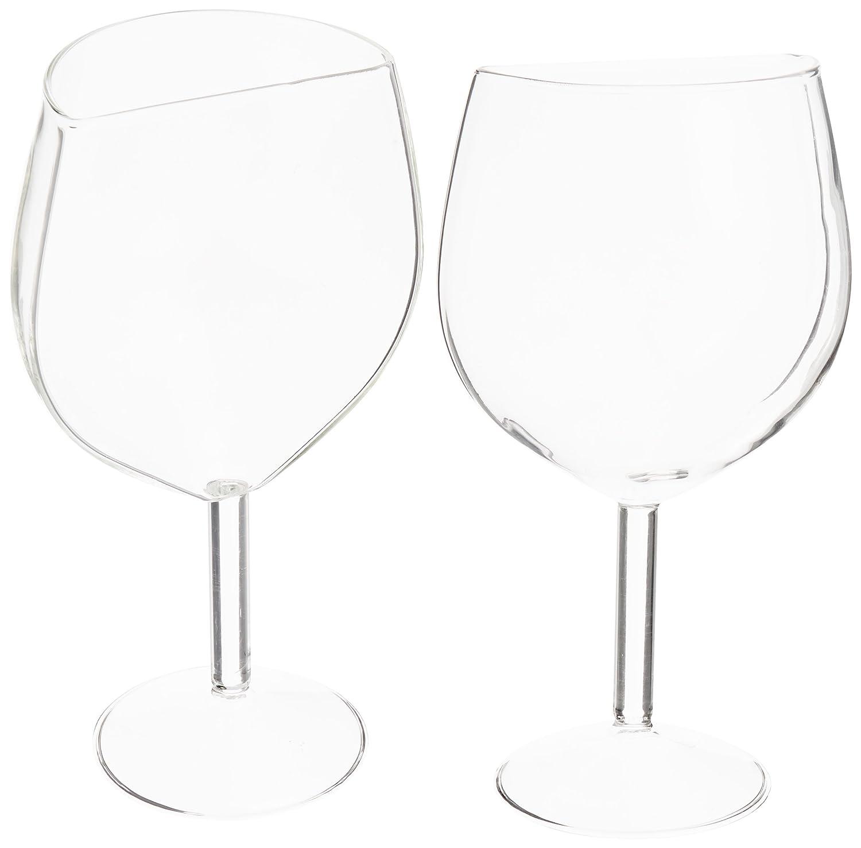 Addliquid Half Cut Wine Glass, Glass, Clear, Set of 2 FBA_HCWG2
