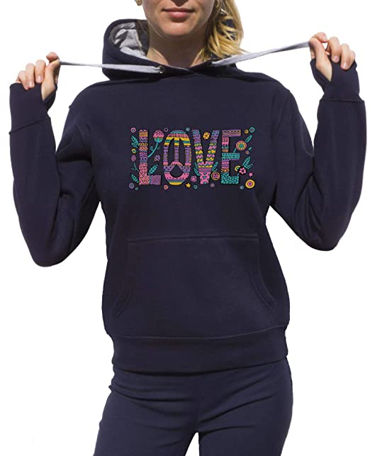 KrisTalas Sudadera con Capucha Mujer Flower Power Love Freedom Clothing Peace Hippie Thematic Outfit Dress Code 60s Clothing 70s Clothing Gris: Amazon.es: ...
