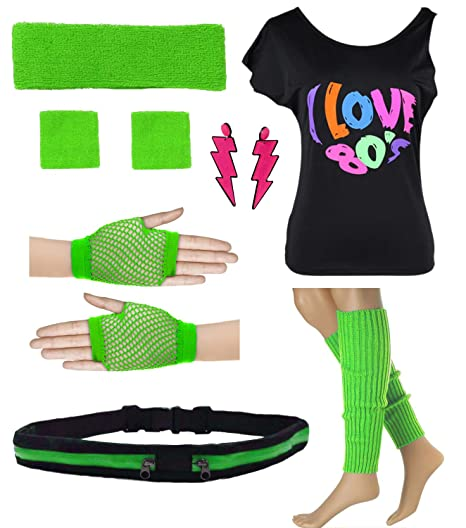 5a024fda09f Womens I Love The 80 s Disco T-Shirt with Leg Warmers Earring Outfit  Accessories (