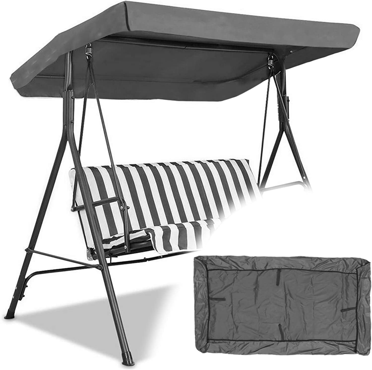 Lsghome Patio Swing Canopy Replacement Top Cover, Replacement Cover for Swing Canopy, Garden Seater Sun Shade Treasures Porch Swing Hammock Protector Furniture Cover (Gray)