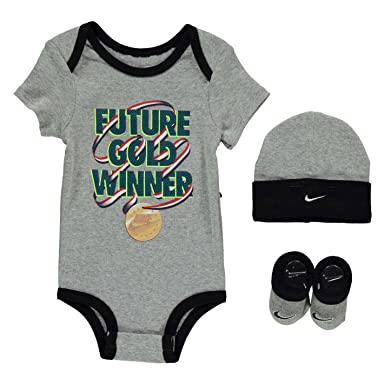 Nike Romper Hat & Booties 3 Piece Gift Set Baby Boys Grey (0-6