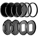 Neewer Camera Lens Filter Kit for GoPro Hero 5 and Hero 6: (4) Neutral Density ND Filter(ND4/ND8/ND16/ND32), (1) UV Filter, (1) CPL Filter, (2) Lens Cap, (2) Lens Adapter Ring