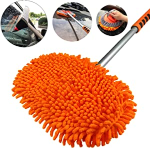 AgiiMan Car Wash Brush with Long Handle - 3 in 1 Car Cleaning Mop, Chenille Microfiber Mitt Set, Adjustable Length 24in-43in Glass Scrabber Vehicle Cleaner Kit