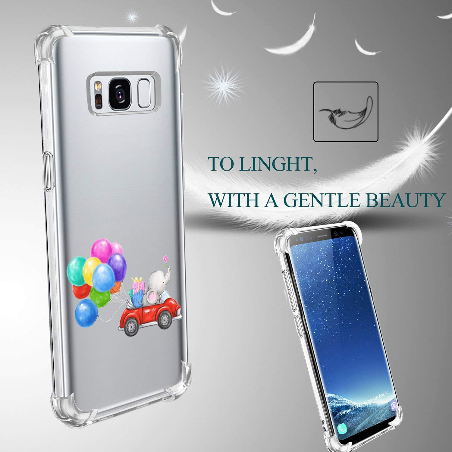 Compatible for Samsung Galaxy Plus case Ultra-Thin Animal series Clear Design Transparent Durable Flexible Soft Silicone Case Scratchproof Scratch resistant protective case Cover