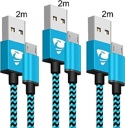 Aione Cable Micro USB [3 Pack, 2M], Cable Cargador Movil,Cargador Android Trenzado de Nylon,Carga Rápida Compatible con Samsung Galaxy J7 J5 J4 J3 S7