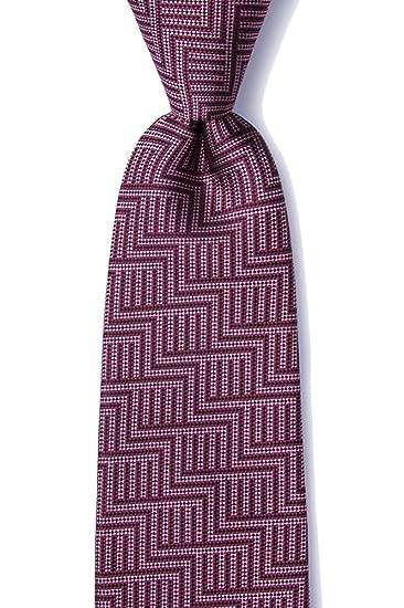 0bd8228014aa Men's 100% Silk Contemporary Pearch Foulard Geometric Tie Necktie (Burgundy)  at Amazon Men's Clothing store: