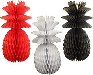 product image for Large Solid Colored 13 Inch Honeycomb Pineapple Party Decoration Kit (Caribbean - Red, White, Black)