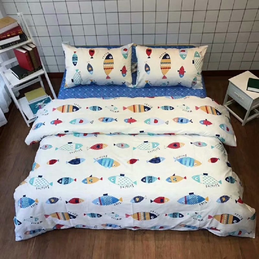 Jane yre Cartoon Fish Print Bedding Duvet Cover Sets Queen, Chic Ocean Duvet Cover Sets Fish Pattern, Cotton Bedding Comforter Cover Sets with Zipper Closure,Boy Girl Surprising Gift, Queen