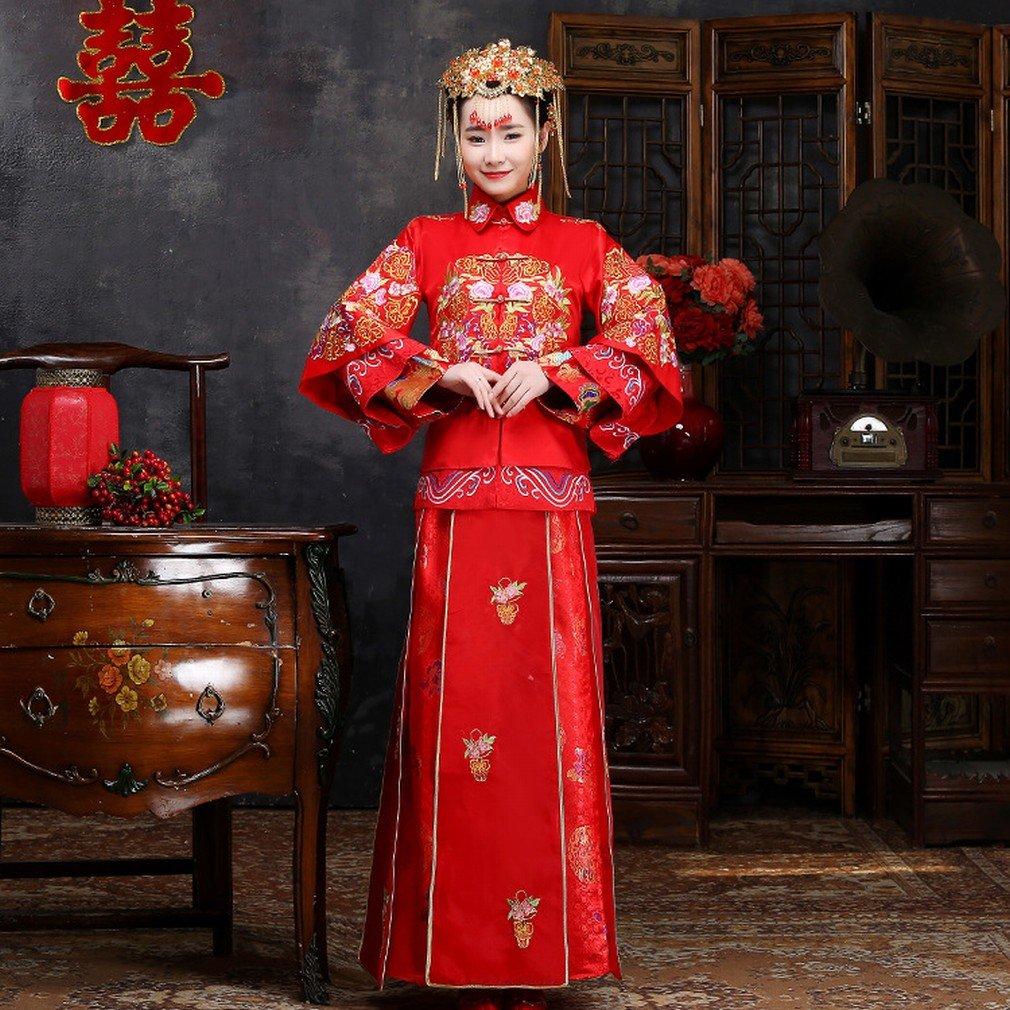 Cocina China Wo Vestidos de Novia de Los Hombres Mujeres Embarazadas Shangrique Vestidos de Alta Cintura Vestidos de Boda Chino Rojo,UN,XXXL: Amazon.es: ...