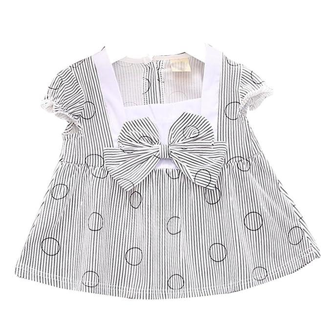 b384251811d501 Bekleidung Longra Baby Kinder Mädchen Baumwolle Prinzessin Kleid Pageant  gestreift Bogen Kurzarm Kinder Sommer Kleid (