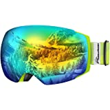 outdoormaster 滑雪镜 PRO–无框可互换镜片100% UV 400防护等级滑雪镜适用于男式和女式