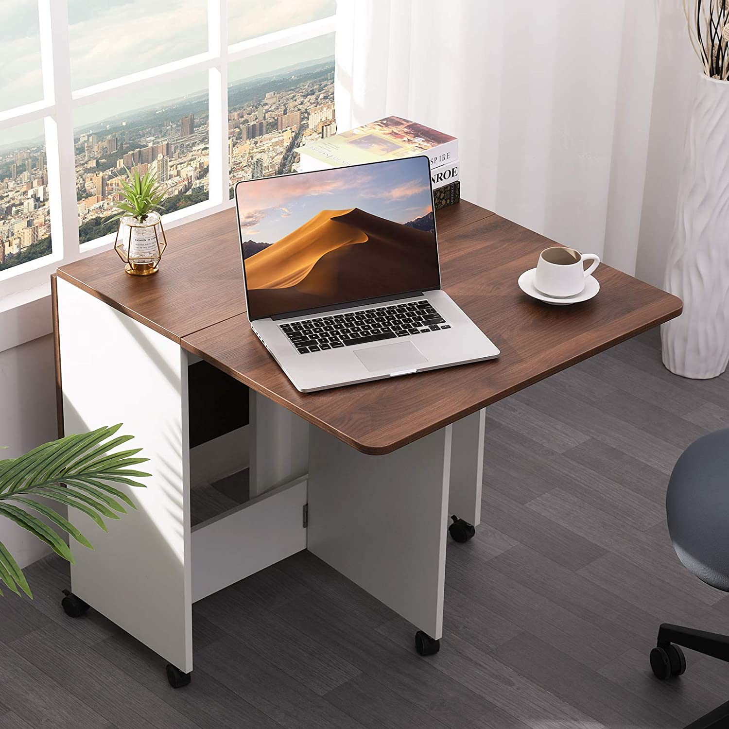 Vonanda Folding Dining Table, Versatile Office Desk with 6 Wheels for Small Room Apartment, Multifunction Expandable Table for Kitchen/Living Room/Bedroom, Walnut and White