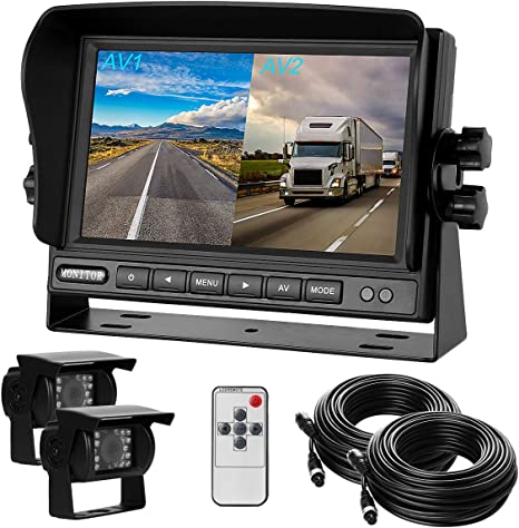 "Wireless Digital 2 Split 7/"" Rear View Monitor+Backup Camera*2 For Truck Trailer"