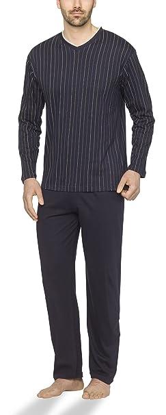 Moonline - Pijama de hombre con cuello de pico y diseño a rayas, Color: