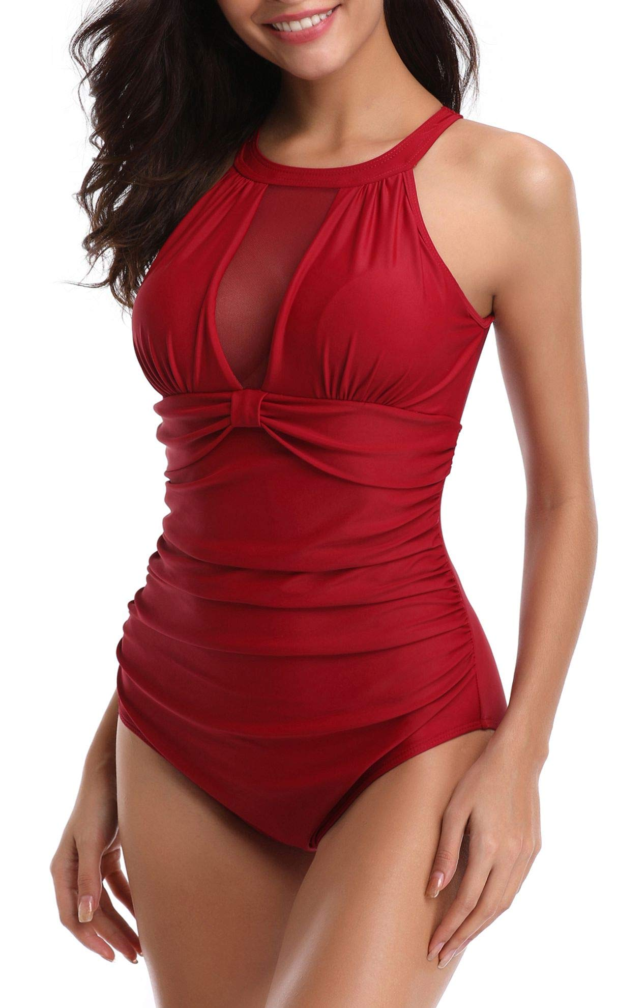 Yong Dong V-Neck Bathing Suits for Women Halter High Neck One Piece Swimsuits Bodysuit (Large, Burgundy)