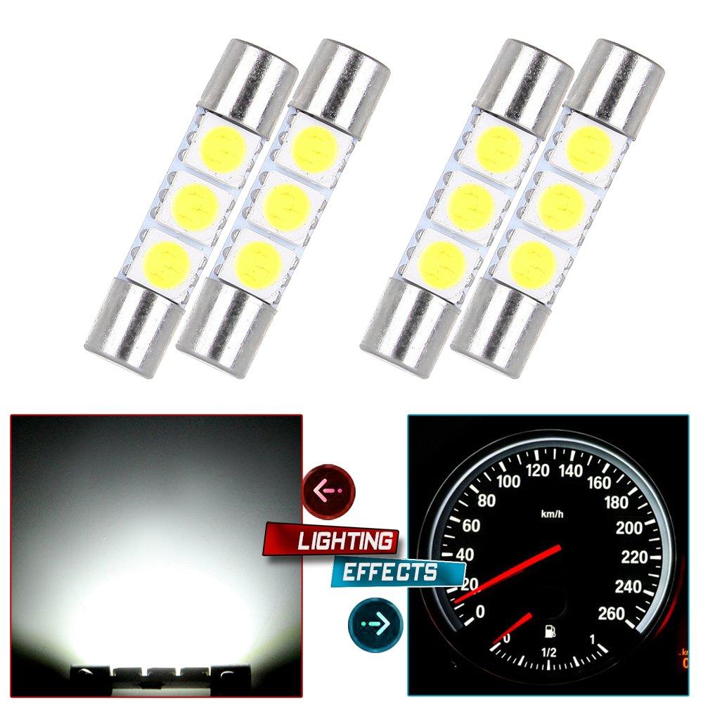 cciyu 29mm-31mm Festoon LED Bulbs 3-5050-SMD White Super Bright Interior Car Lights DE3175 DE3021 DE3022 3022 3021 3175 6614 6641 TS-14V1C fit for Dome Map Door Light Courtesy Light Bulbs Pack of 4 990462-5210-1404275