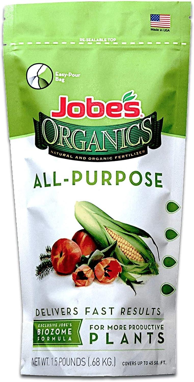 Jobe's Organics 09521 EMW7493448 Purpose Fertilizer with Biozome, 4-4-4 Organic, 1.5 lb