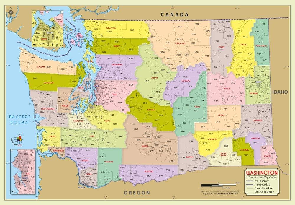 Zip Code Map Washington Amazon.: Washington County with Zip Code Map (36