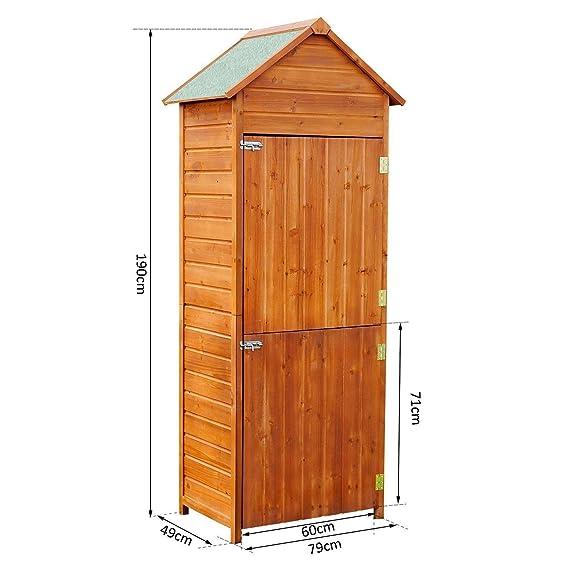 Outsunny - Armario de almacenaje Almacenamiento ripostiglio Herramientas Desmontable con 2 Puertas de Madera 79 x 49 x 190 cm: Amazon.es: Jardín