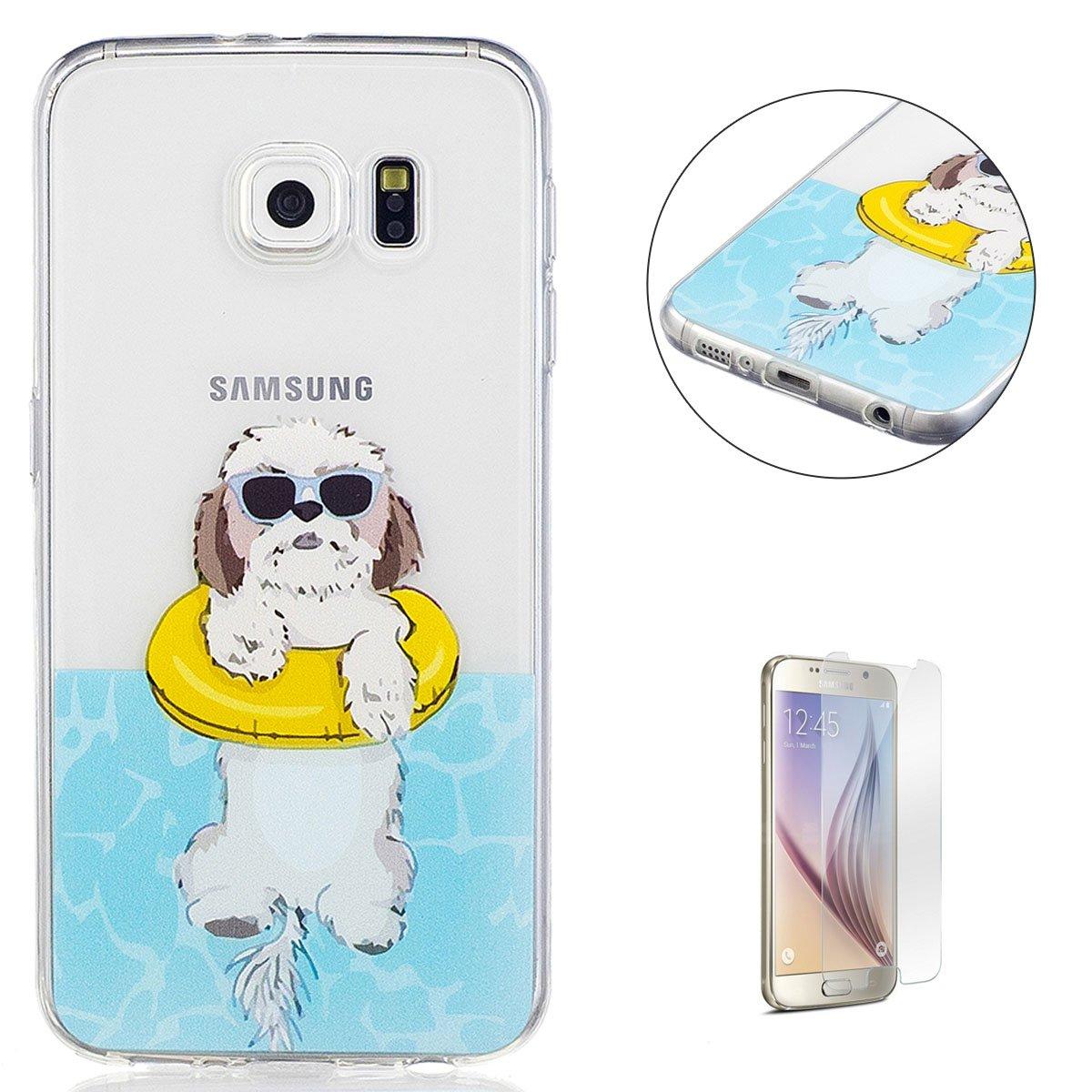 KaseHom Coque Case for Samsung Galaxy S6 Cas Housse Gel de Silicone Clair (Gratuit Protecteur d'écran) Premium Transparent Flexible Antichoc TPU Coloré Conception-Chien Gris CaseHome CHSAS6-194579