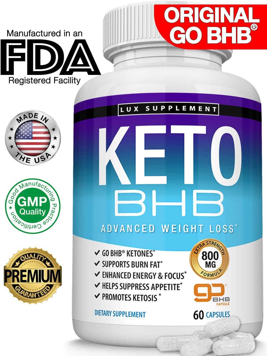 Keto Pills Advanced Weight Loss BHB Salt - Natural Ketosis Fat Burner Using Ketone & Ketogenic Diet, Boost Energy While Burning Fat, Fast & Effective Perfect for Men Women, 60 Capsules, Lux Supplement