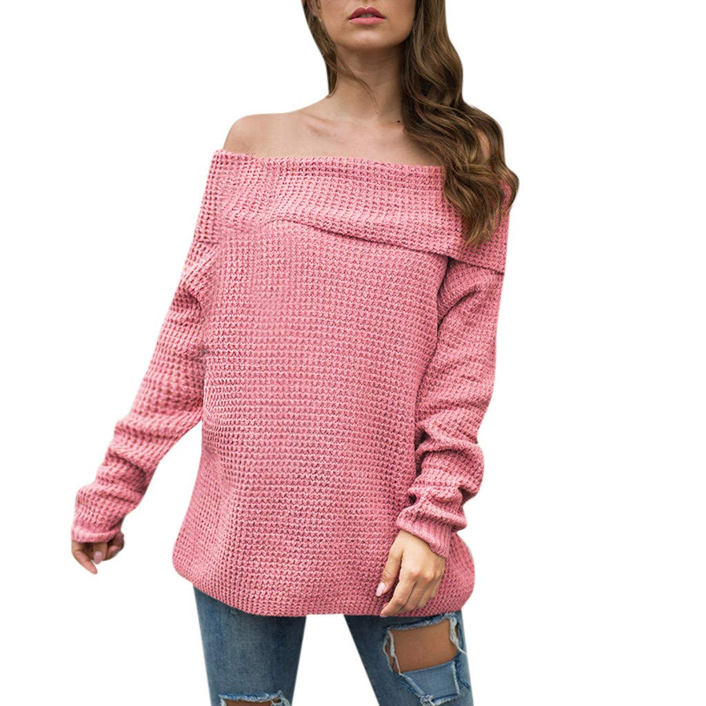 Ultramall Womens Long Sleeve Off Shoulder Sweater Pure Color Down Shirts Sexy Tops Blouse(Pink,M) by Ultramall (Image #1)