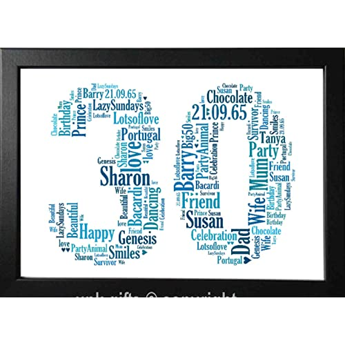 UPK Gifts 30th Birthday Personalised Word Art Gift Keepsake Any Age 30 1st 16th 18th 21st
