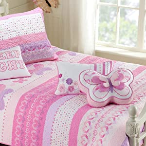 Cozy Line Home Fashions 100% Cotton Lightweight but Warm Pink Butterfly Stripe Hearts Girls Bedding Quilt Set (Pink Butterfly, Twin - 2 Piece)