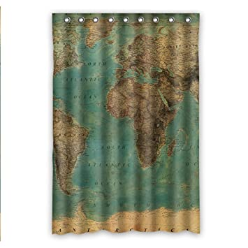 Custom fashionable vintage style world map pattern waterproof custom fashionable vintage style world map pattern waterproof fabric bathroom shower curtain 48quot x 72quot gumiabroncs Gallery