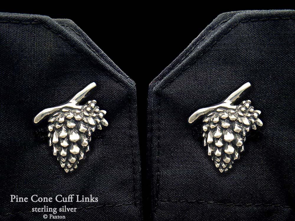 Pine Cone Cuff Links in Solid Sterling Silver Hand Carved & Cast by Paxton