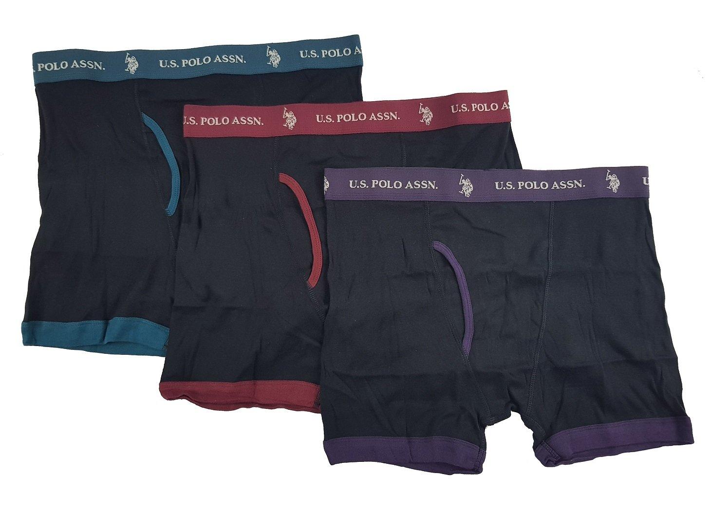U.S. Polo Assn. Men's 3 Pack Cotton Boxer Brief (Black Purple/Black Burgundy/Black Pine, M)