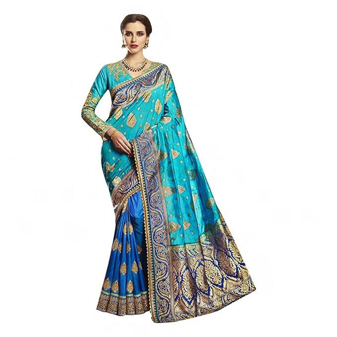 Diseñador de vestimenta tradicional india Sari de seda con blusa sin costuras 586
