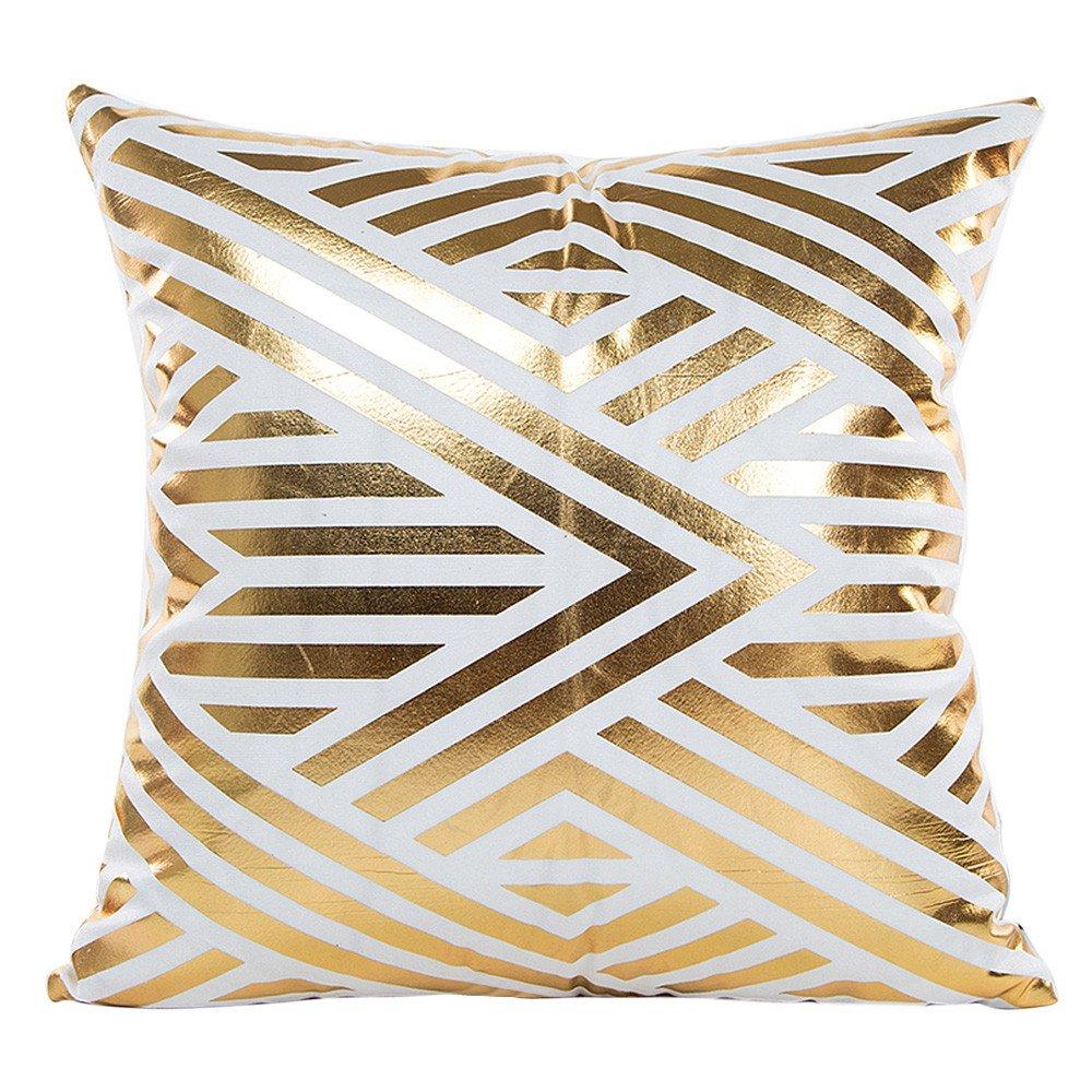MURTIAL Pillow Case,Gold Foil Printing Pillow Case Sofa Waist Throw Cushion Cover Home Decor
