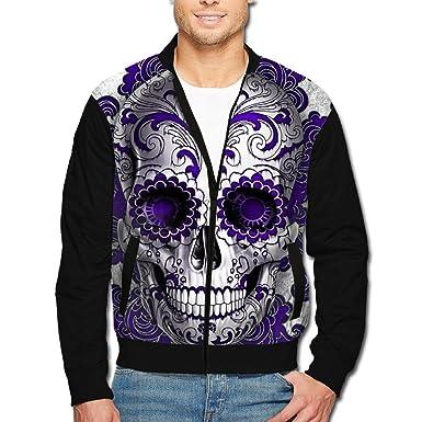 a17b22f18 Amazon.com: Men's Print Zip Front Jacket Purple Flower Skull Stand ...