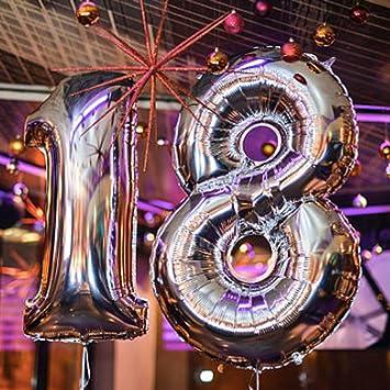 Globos de cumpleaños helio inflable de plata de 18 años para ...