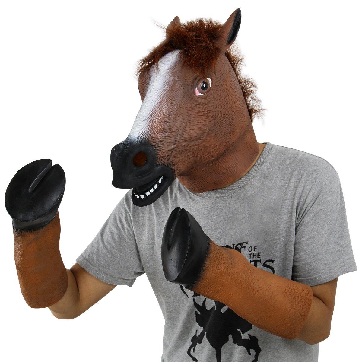Amazon.com: BengPro Novelty Latex Rubber Creepy Horse Head Mask ...