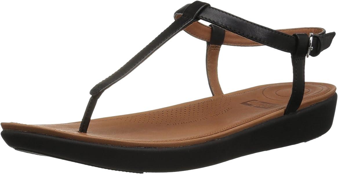 Leather Schwarzblack Fitflop Peeptoe Sandalen Toe Damen Tia Thong A5RjL4