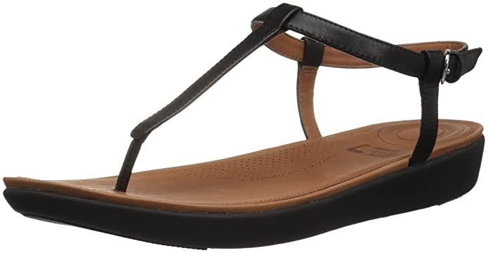 FitFlop Womens Tia Toe-Thong Flat Sandal, Black, 9 M US