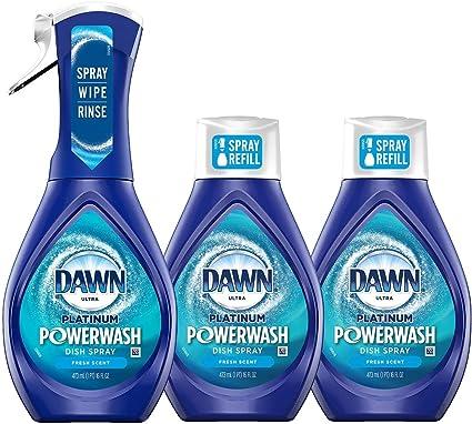 Dawn Powerwash Starter Kits, Dish Spray, Dish Detergent, Fresh Scent Bundle, Spray Bottle, 2 Refills…