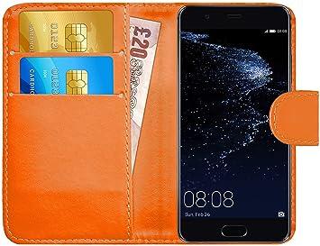 G-Shield Funda para Huawei P10, Carcasa de Cuero con Ranuras para Tarjetas, Naranja
