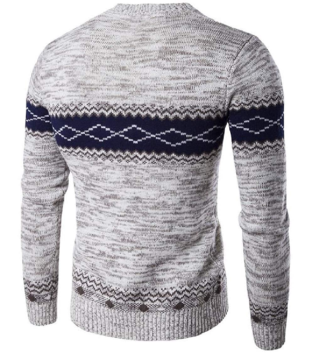 DressU Mens Thicken Trible Geometric Pullover Warm Knitted Sweaters