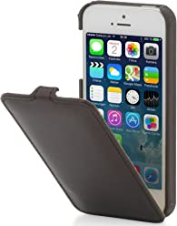 StilGut, UltraSlim, pochette exclusive de cuir véritable pour l'iPhone 5 & iPhone 5s d'Apple, Cognac Nappa