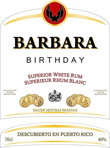 Party People 1 x Etiqueta DE Botella DE Ron Blanco ...