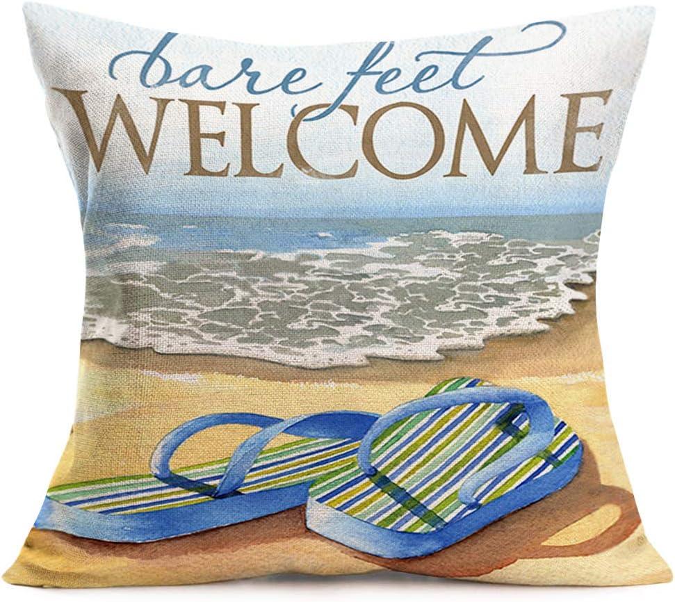 Amazon Com Smilyard Coastal Decor Throw Pillow Covers Ocean Beach Theme Flip Flops Pillow Cover Cotton Linen Welcome Bare Feet Words Pillow Case Cushion Cover Outdoor Decor For Sofa Bed 18x18 Inch Bfw 18